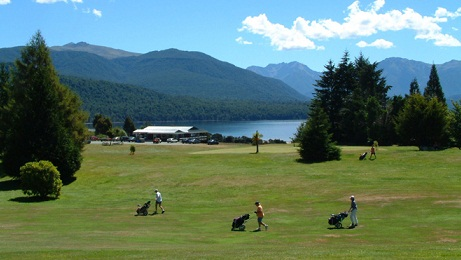 Golf over looking the lake Te Anau
